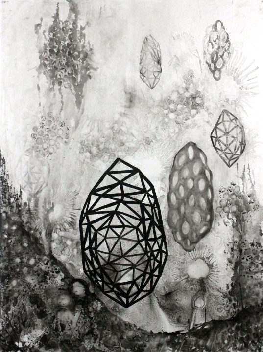 Untitled, 2015, ink on Yupo, 60 x 45 inches